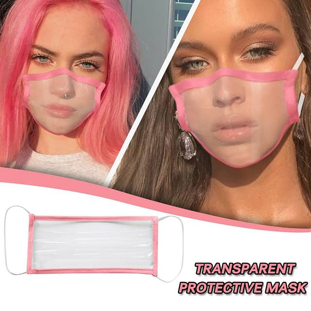 Trasnparent Face Mask For Adults color: Light blue|Pink|Gray with 2 Filters|Black|Blue|White  New Arrivals 2020 Fight Coronavirus Face Masks Best Sellers Clearance