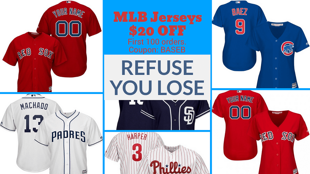 "Major League Baseball Jerseys Extra 20% OFF with coupon ""BASEB"""