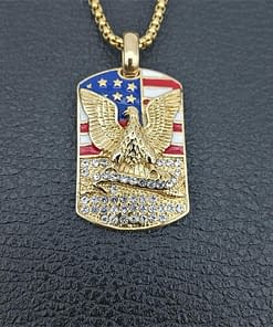 American Flag with Eagle Military Dog Tag Necklace
